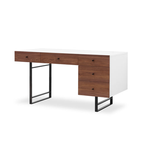 White Walnut Desk with Bronze Frame