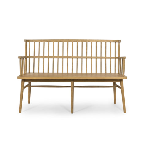 Honey colored windsor style bench, spindle back