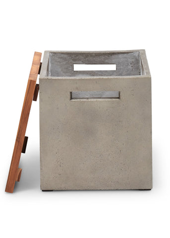 Indoor, outdoor wood top concrete stool