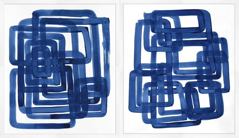 Abstract Blue Box Acrylic Prints - Hamptons Furniture, Gifts, Modern & Traditional