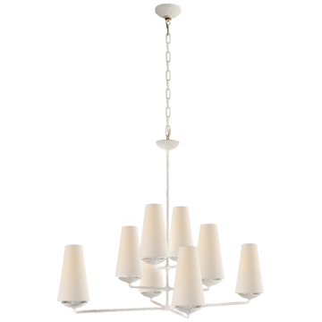 Fontaine Large Offset Chandelier in Plaster White with Linen Shades