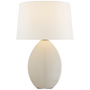 Myla Medium Wide Table Lamp in Clear Glass with Linen Shade