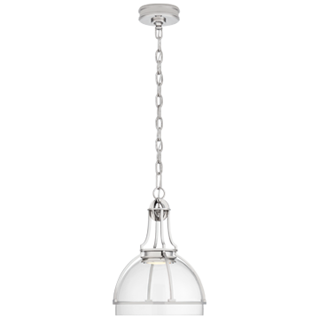Gracie Medium Dome Pendant in Polished Nickel with Clear Glass