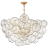 Talia Large Chandelier in Plaster White and Clear Swirled Glass