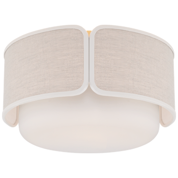 Eyre Medium Flush Mount in Polished Nickel and Soft White Glass with Linen with Lilac Trimmed Shade