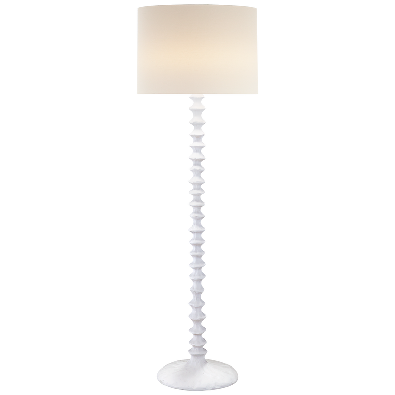 Floor Lamp in Plaster White with Linen Shade
