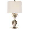 Large Table Lamp in Burnished Silver Leaf with Linen Shade