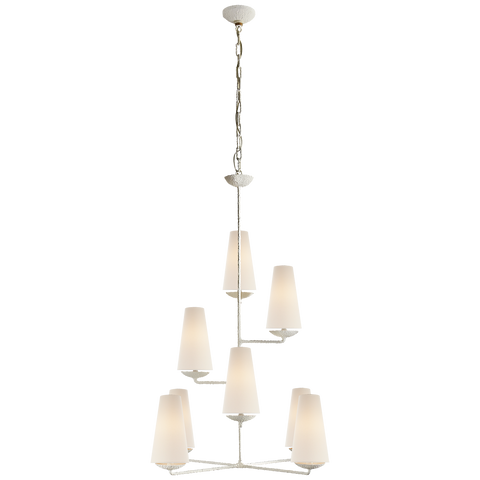 Vertical Chandelier in Plaster with Linen Shades