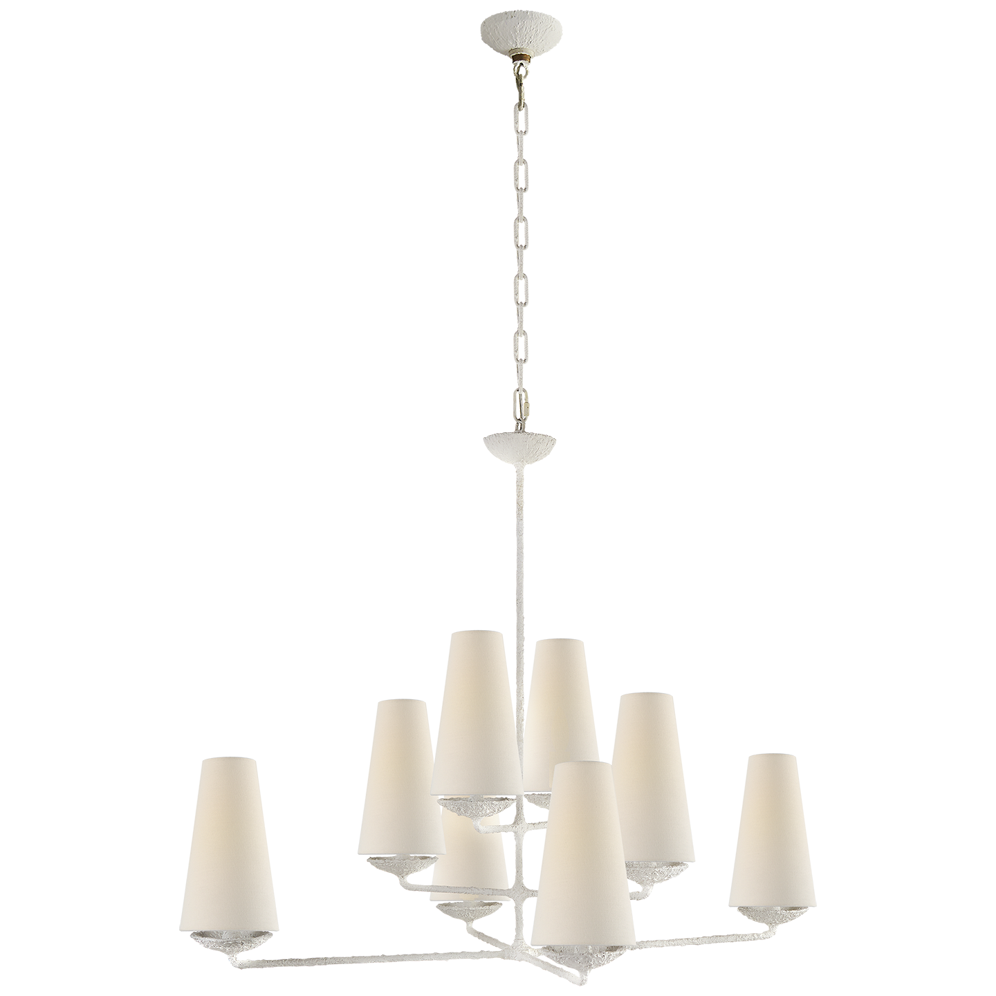 newest 3ae59 17580 Offset Plaster Chandelier with Linen Shades