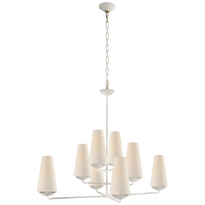 Offset Plaster Chandelier with Linen Shades
