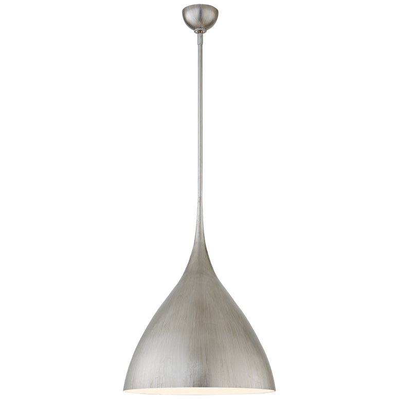 Agnes Medium Pendant in Burnished Silver Leaf with White Interior
