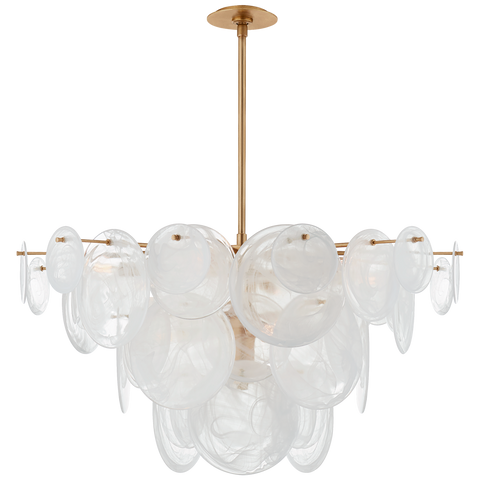 Large chandelier in gild with strie glass