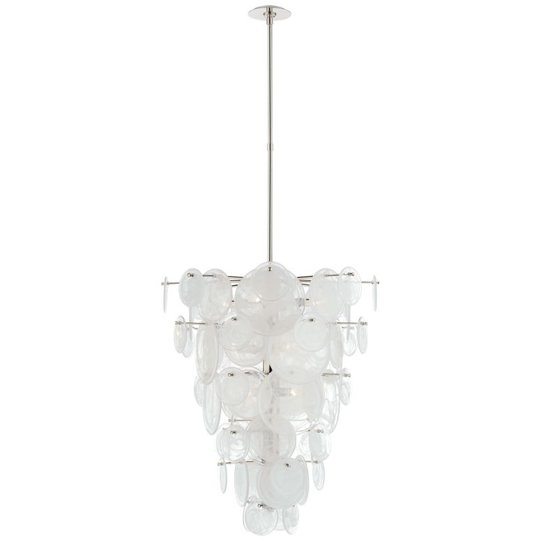 Cascading chandelier with glass in Polished Nickel
