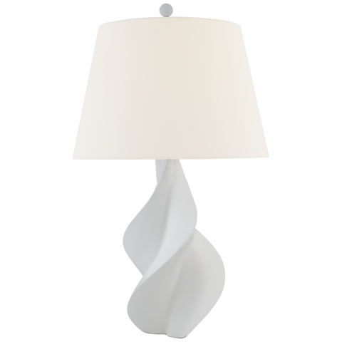 Cordoba Large Table Lamp in Plaster White with Linen Shade