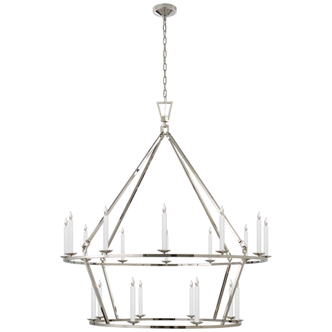 Extra Large Two-Tier Chandelier in Polished Nickel