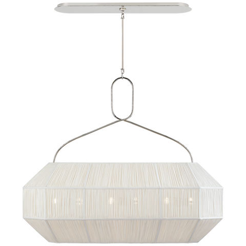Forza Medium Linear Lantern in Polished Nickel with Gathered Linen Shade