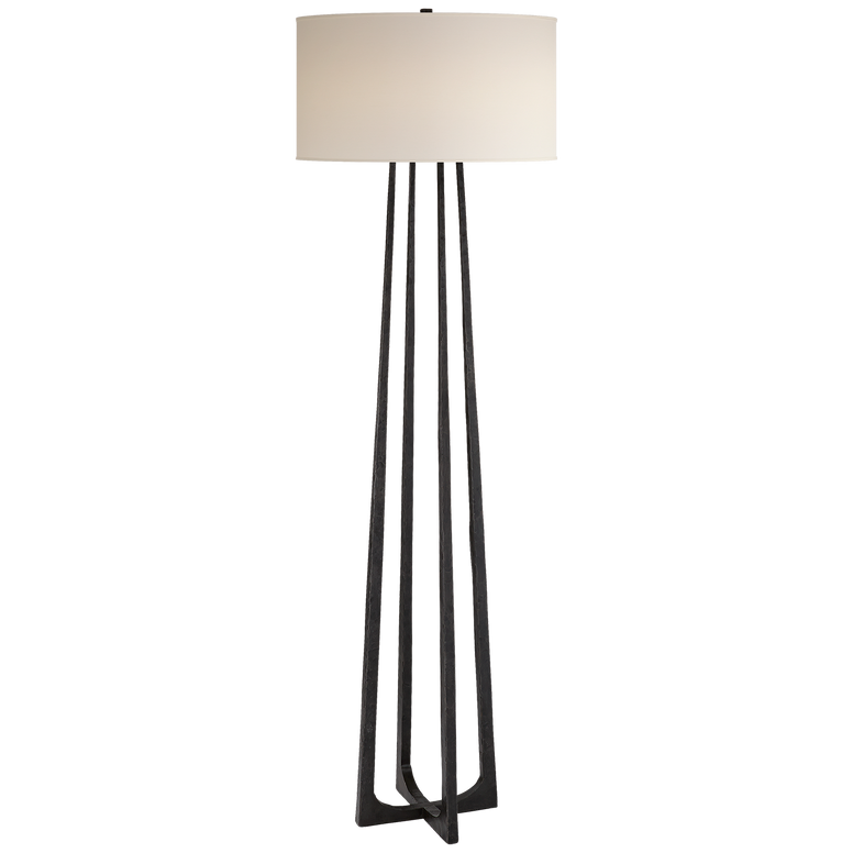 Hand-Forged Floor Lamp in Aged Iron with Natural Percale Shade