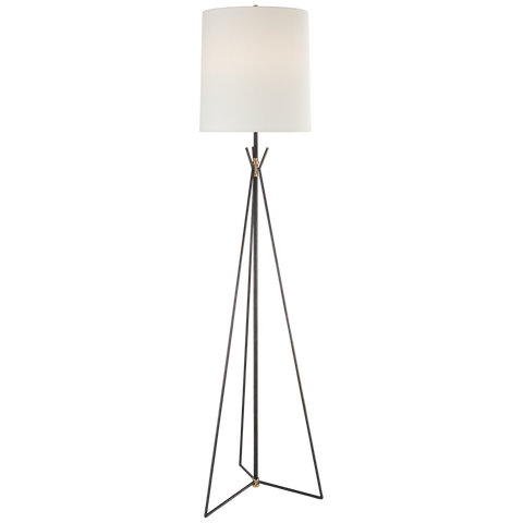 tripod floor lamp in bronze and brass