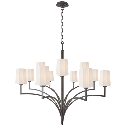 Two Tier Chandelier in Aged Iron with Linen Shades