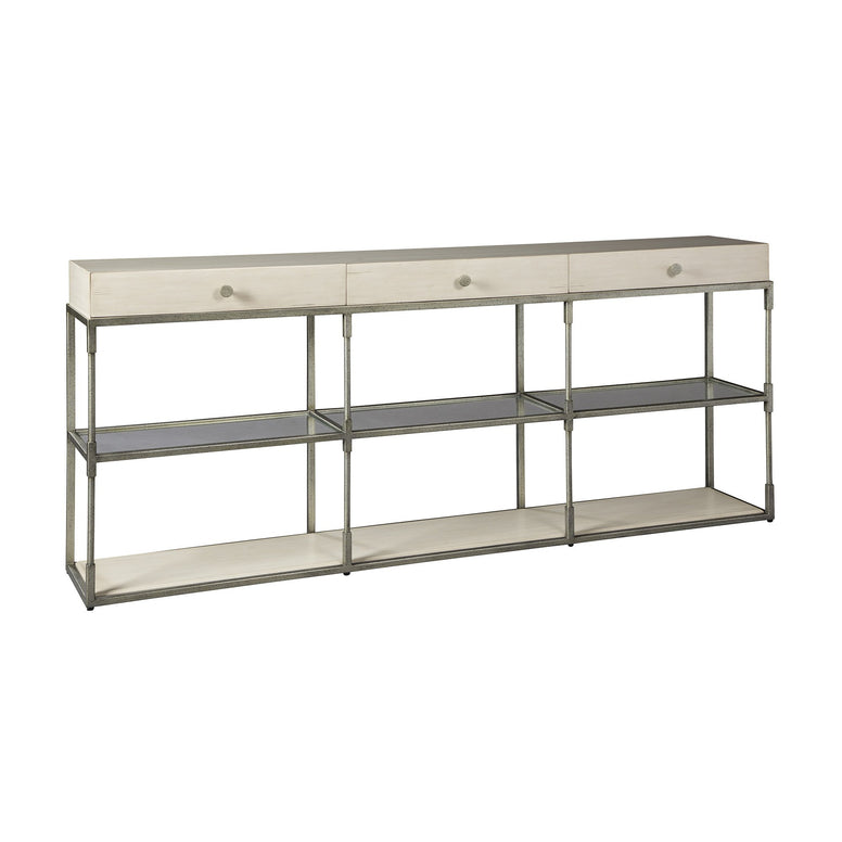 Triple drawer console table with metal base, glass shelves - Hamptons Furniture, Gifts, Modern & Traditional