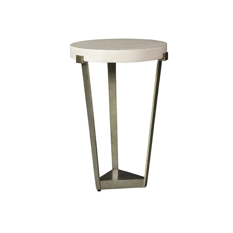 Cream Top Side Table with distressed base in metal - Hamptons Furniture, Gifts, Modern & Traditional