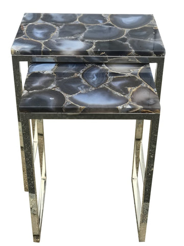 Agate nesting Side Tables with Chrome Base - Hamptons Furniture, Gifts, Modern & Traditional