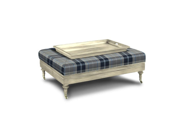 Upholstered Ottoman with Large Tray Top - Hamptons Furniture, Gifts, Modern & Traditional
