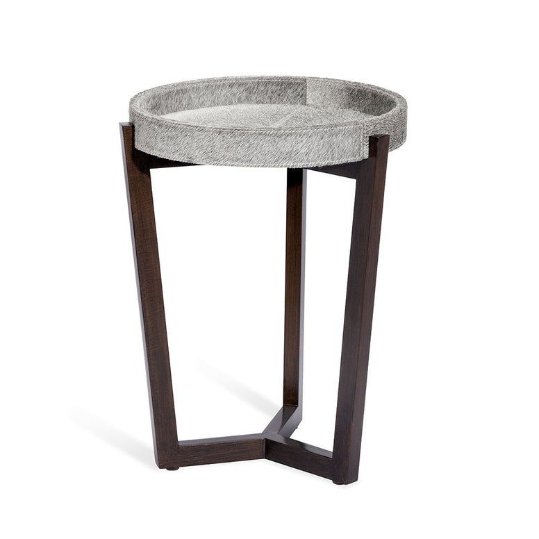 Small Side Tray Table in Grey Cow Hide