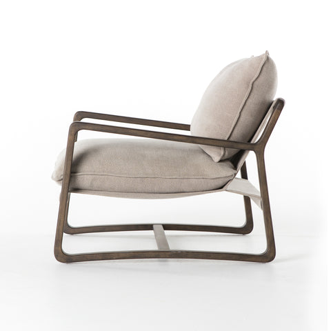 sling armchair in grey cotton canvas