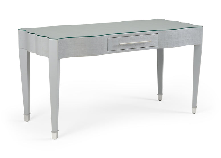 Grey Desk with Raffia Finish, & a Glass Top - Hamptons Furniture, Gifts, Modern & Traditional
