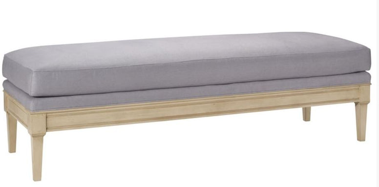 Transitional Wooden Bench in Multiple Sizes and Fabrics