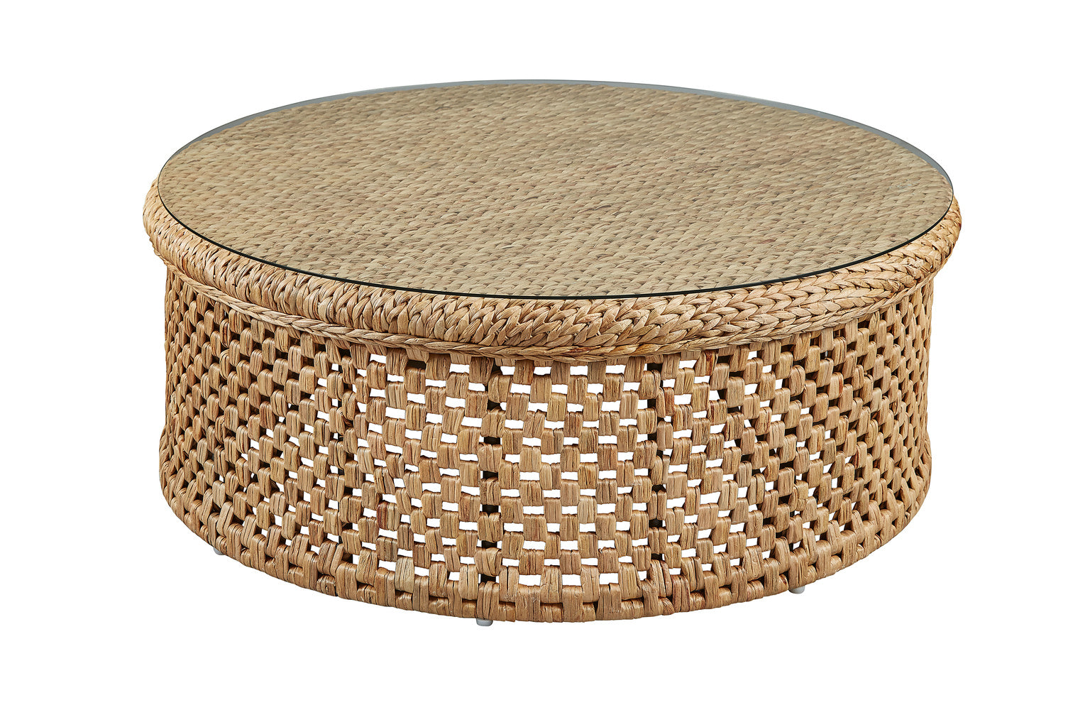 - Round Rattan Coffee Table With Glass Top – English Country Home