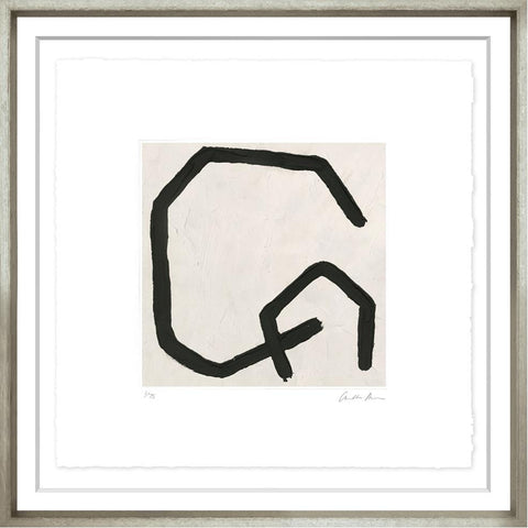 Modern Black Abstract Lines, framed in contemporary silver