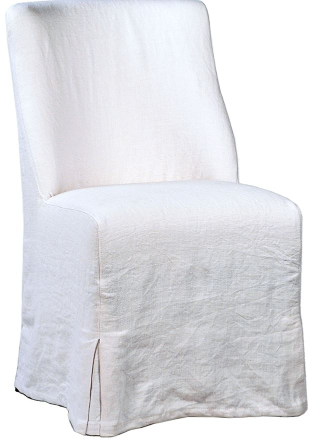Dining Chair Slip Covered in White Linen - Hamptons Furniture, Gifts, Modern & Traditional