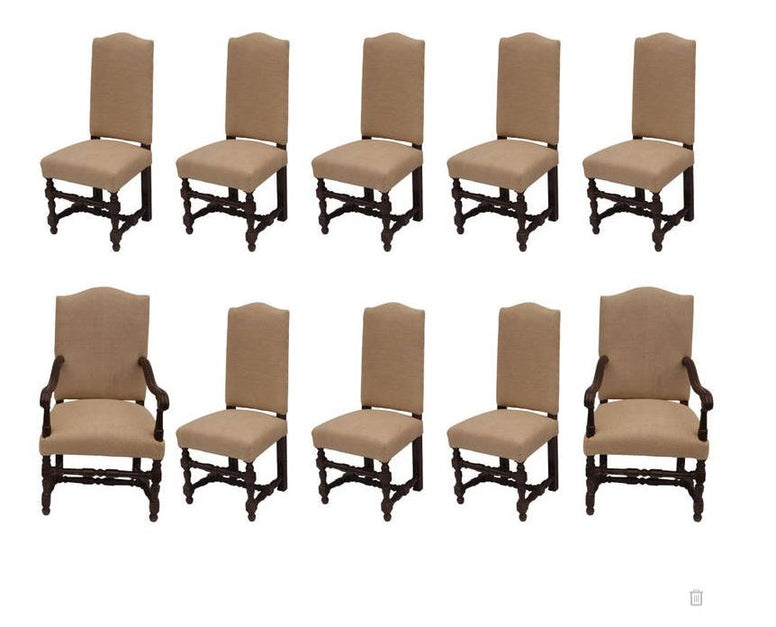 Set of 10 French Oak Dining Chairs