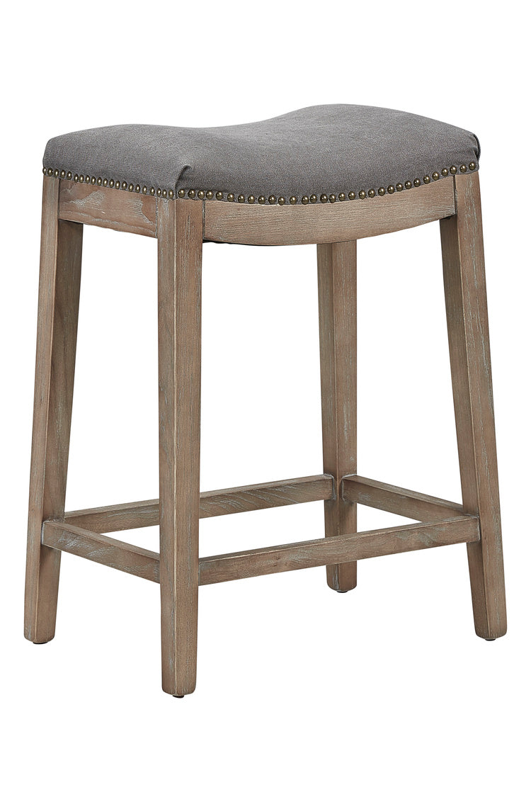 upholstered counter stool in washed oak and grey linen seat