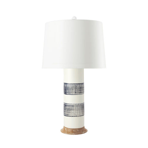 Navy & White Column Lamp
