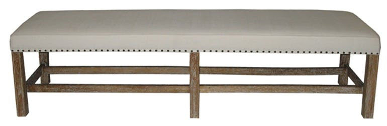 Upholstered Grey Wash Bench