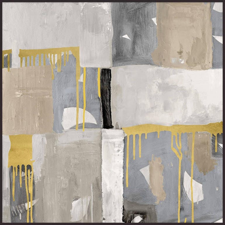 Abstract Grey and Gold Print on Canvas