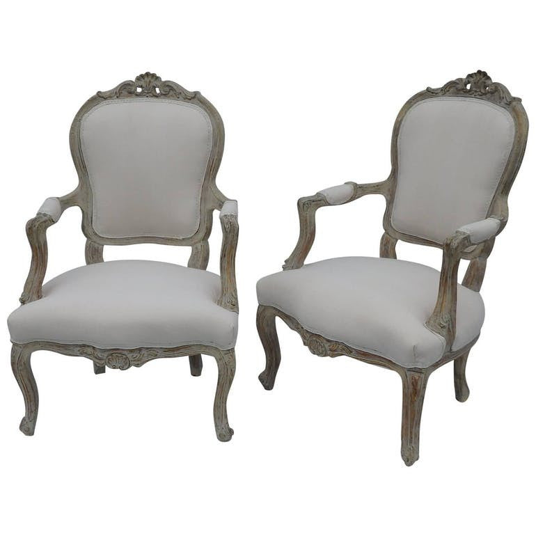 Superbe Pair French Louis XV Style Chairs