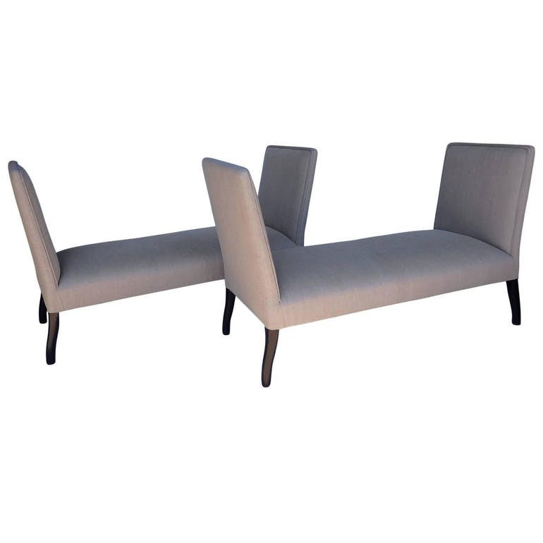 Pair newly Upholstered Settee - Hamptons Furniture, Gifts, Modern & Traditional