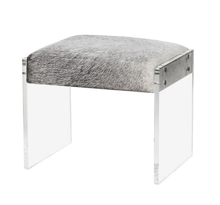 Acrylic and Natural Hide Stool in Grey