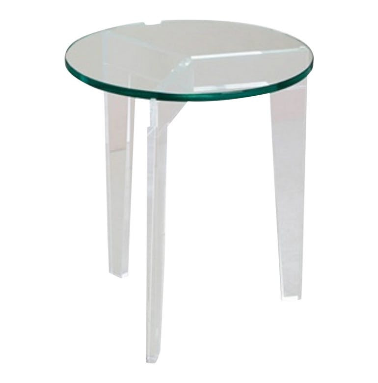 Acrylic & Glass Round Side Table - Hamptons Furniture, Gifts, Modern & Traditional