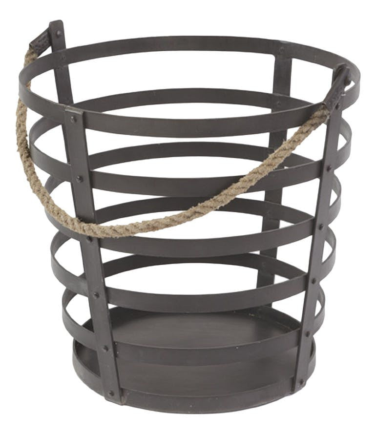 Iron and Rope Basket - Hamptons Furniture, Gifts, Modern & Traditional