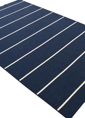Navy and White Floor Rug
