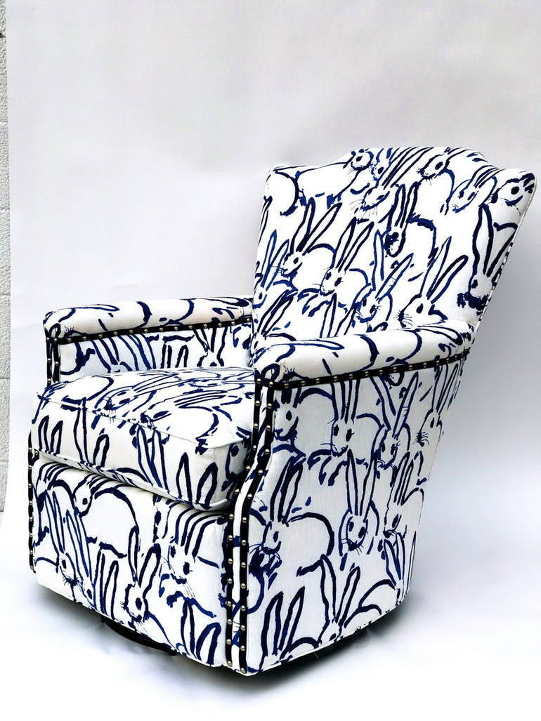 Swivel Armchair in Bunny Fabric