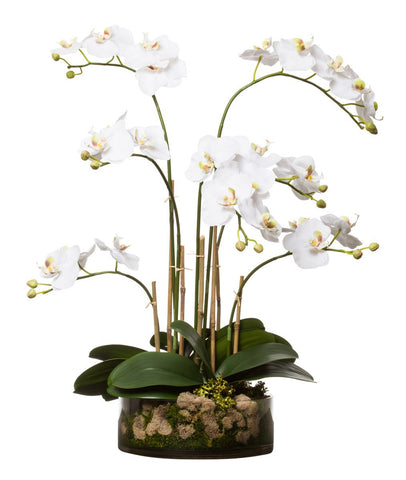 White Faux Phalaenopsis Orchid  in Clear Glass Bowl