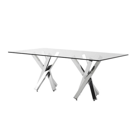 Glass & Steel Dining Table