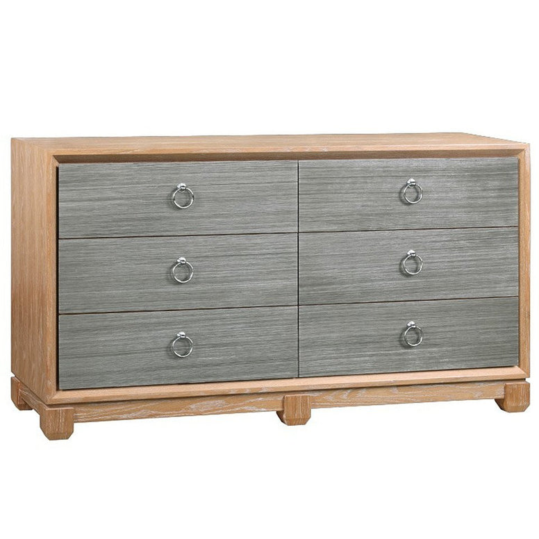 Cerused Oak and Grasscloth Chest of Drawers - Hamptons Furniture, Gifts, Modern & Traditional
