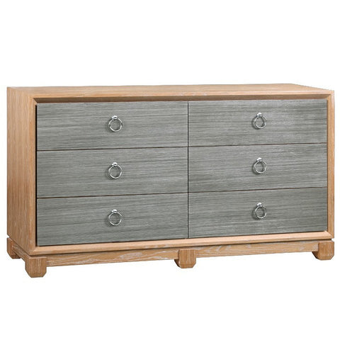 Cerused Oak and Grasscloth Chest of Drawers